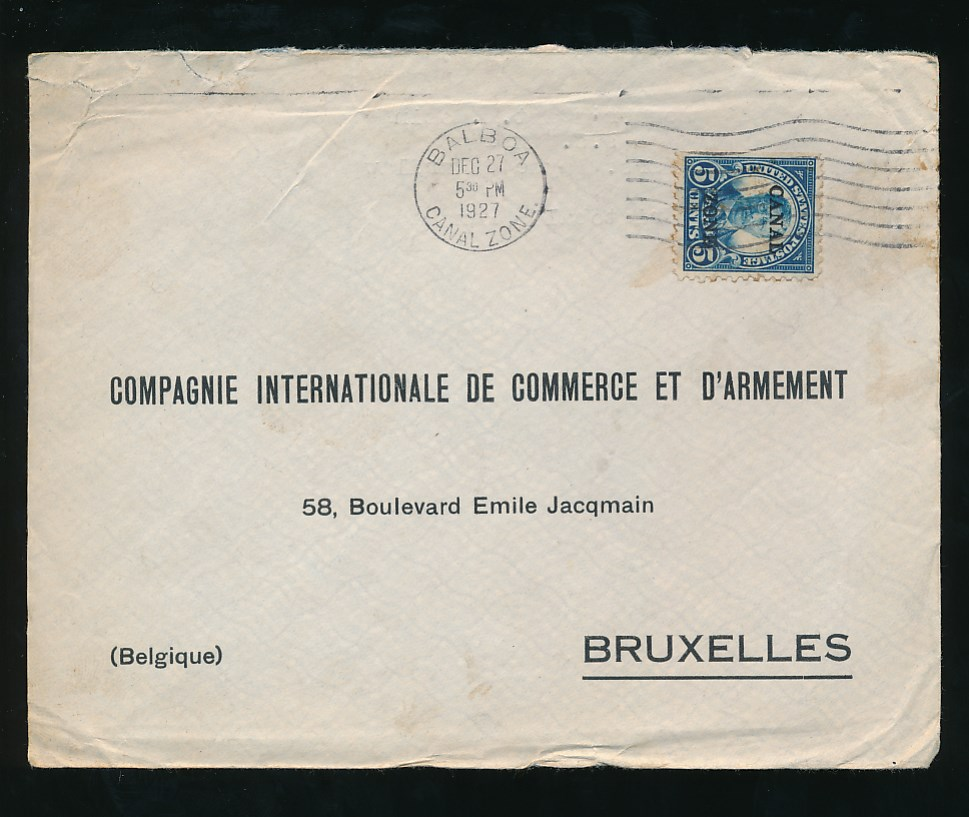 canal zone 1927 envelope to compagnie int de commerce et